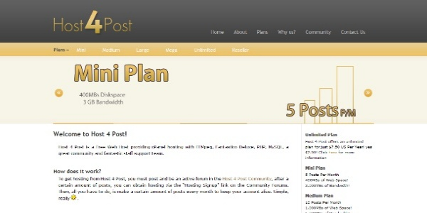 Host 4 Post Mini Plan